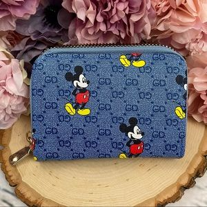 Blue Mickey Mouse Vegan Leather Zippered Wallet